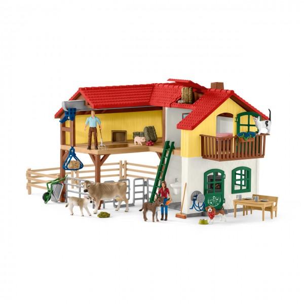 Bauernhaus mit Stall und Tieren