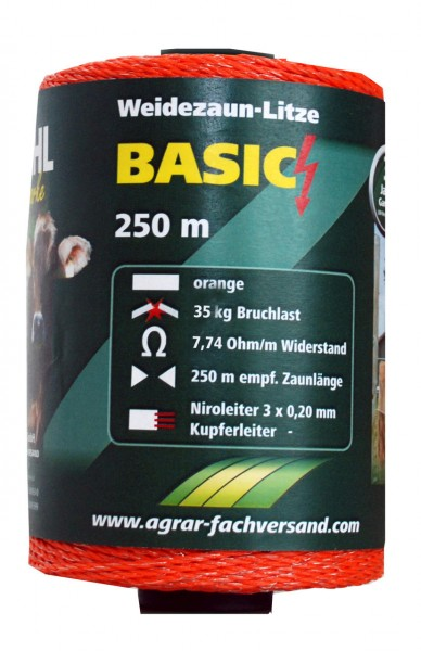 WAHL-Hausmarke WEIDEZAUNLITZE - BASIC - 250m - orange