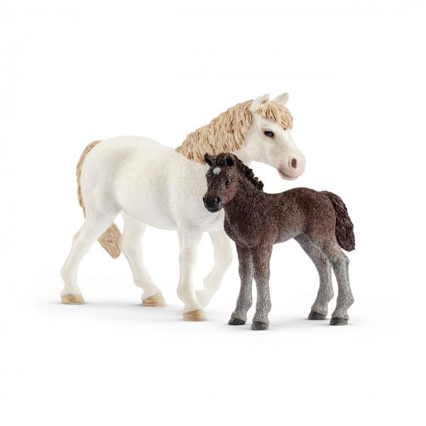 Schleich Dartmoor-Pony Stute und Fohlen